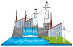 Scène de barrage avec des turbines de vent illustration stock