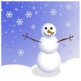 Scène de bonhomme de neige d'hiver photo libre de droits