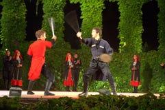 Scène de combat d'épées Photo stock