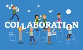 Scène de concept de collaboration avec des personnes de signe diacritique et de bureau travaillant ensemble dans le lieu de trava illustration de vecteur