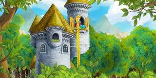 Scène de conte de fées de bande dessinée avec la tour de château - princesse dans la fenêtre Photos stock