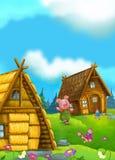 Scène de conte de fées de bande dessinée avec le porc ayant l'amusement Image libre de droits