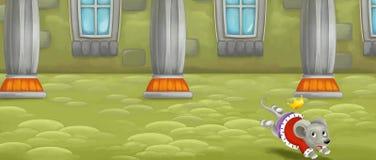 Scène de conte de fées de bande dessinée d'intérieur de château avec le fonctionnement de souris Photographie stock libre de droits