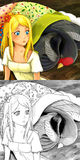 Scène de conte de fées de bande dessinée - illustration de coloration Images stock