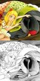 Scène de conte de fées de bande dessinée - illustration de coloration Photographie stock