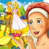Scène de conte de fées de bande dessinée - illustration pour les enfants Photo stock