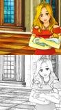 Scène de conte de fées de bande dessinée - page de coloration illustration stock
