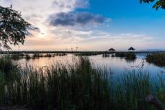 Scène de coucher du soleil au bondon Bua Photographie stock