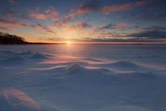 Scène de coucher du soleil d'hiver Images libres de droits
