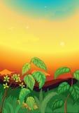 Scène de coucher du soleil dans la jungle illustration de vecteur