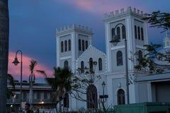 Scène de coucher du soleil dans la plaza, Isabella, Porto Rico Photo libre de droits