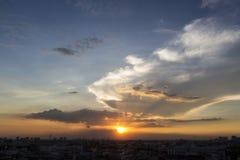 Scène de coucher du soleil de Bangkok Photos stock
