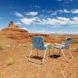 Scène de désert. avec des présidences. Photo stock