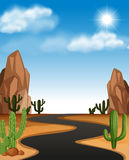 Scène de désert avec la route et le cactus illustration stock