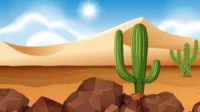 Scène de désert avec le cactus illustration libre de droits