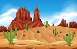 Scène de désert avec le cactus illustration stock