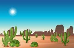 Scène de désert avec le cactus illustration de vecteur