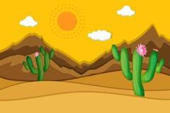 Scène de désert avec le cactus dans le premier plan illustration libre de droits