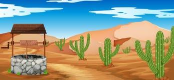Scène de désert avec le cactus et le puits Photographie stock libre de droits