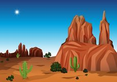 Scène de désert avec le canyon et le cactus illustration libre de droits