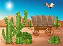 Scène de désert avec le chariot et le cactus illustration de vecteur
