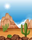 Scène de désert avec les montagnes et le cactus illustration libre de droits