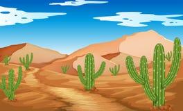 Scène de désert avec les montagnes et le cactus illustration de vecteur