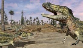 Scène de dinosaures d'Alioramus Images libres de droits