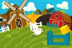 Scène de ferme de bande dessinée - village traditionnel - pour l'utilisation différente illustration stock