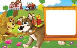 Scène de ferme de bande dessinée avec différents animaux - chiens ayant l'amusement - poules se reposant à l'arrière-plan Photos stock