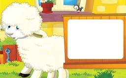 Scène de ferme de bande dessinée avec l'animal mignon - mouton Image stock
