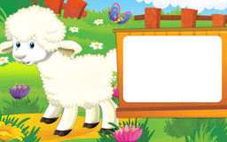 Scène de ferme de bande dessinée avec l'animal mignon - mouton Photographie stock libre de droits