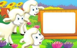 Scène de ferme de bande dessinée avec l'animal mignon - mouton Images libres de droits