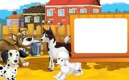 Scène de ferme de bande dessinée - groupe de chiens ayant l'amusement ensemble - l'espace pour le texte Images libres de droits