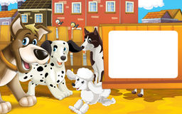 Scène de ferme de bande dessinée - groupe de chiens ayant l'amusement ensemble - l'espace pour le texte Image stock