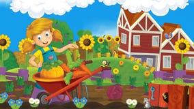 Scène de ferme de bande dessinée - la fille de ferme travaille et a l'amusement Photographie stock libre de droits