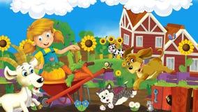 Scène de ferme de bande dessinée - la fille de ferme travaille et a l'amusement illustration libre de droits