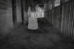 Scène de film d'horreur avec une personne solitaire sur le hall Photos stock