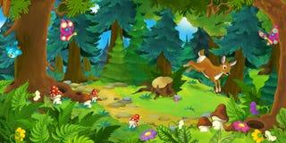 Scène de forêt de bande dessinée avec des animaux - scène pour différents contes fariry Images stock