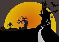 Scène de Halloween avec le château de Dracula illustration stock