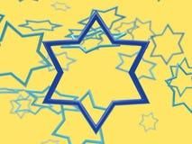 scène de jaune de lévitation de cadre d'étoile bleue illustration libre de droits
