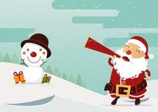 Scène de Joyeux Noël avec Santa Claus et le bonhomme de neige heureux le chef heureux de crabots mignons effrontés de personnage  Image stock