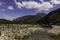 Scène de Karoo de rivière et de ciel bleu Photographie stock libre de droits