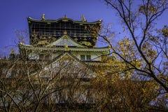 Scène de kleurrijke van Osaka Castle (大阪城, ÅŒsaka-JÅ ) Stock Afbeelding