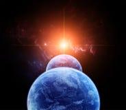 Scène de l'espace avec de doubles planètes Image stock