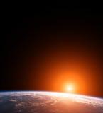 Scène de l'espace de la terre de planète avec Sun Photo stock