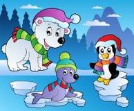 Scène de l'hiver avec les divers animaux 4 Photographie stock libre de droits