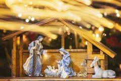 Scène de Manger de Noël avec des figurines images libres de droits