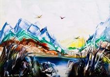 Scène de montagne avec des oiseaux en cire Images libres de droits