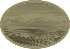 Scène de montagne de gravure sur bois Photos stock